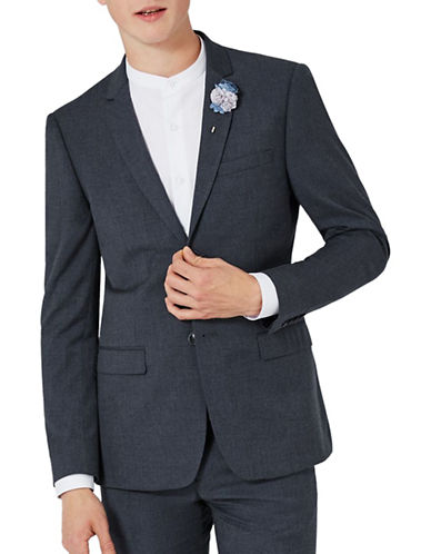 Topman Marl Skinny Fit Suit Jacket-NAVY BLUE-42