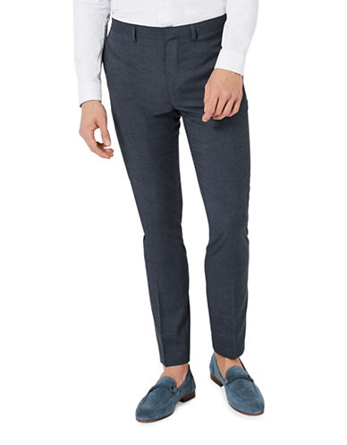Topman Marl Skinny Fit Suit Trousers-NAVY BLUE-28