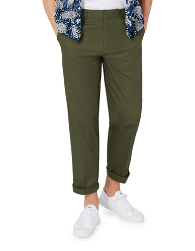 Topman Khaki Twill Slim Fit Smart Pants-OLIVE-36