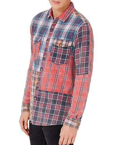 Topman Patchwork Checked Sport Shirt-MULTI-Small
