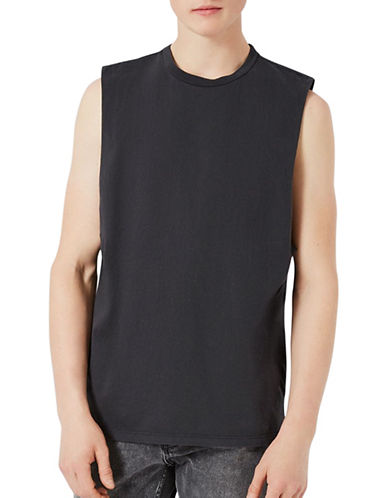 Topman Washed Oversized Tank Top-BLACK-Small 89260676_BLACK_Small