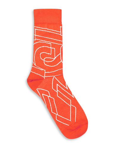 Topman Big Font Socks-WHITE-One Size