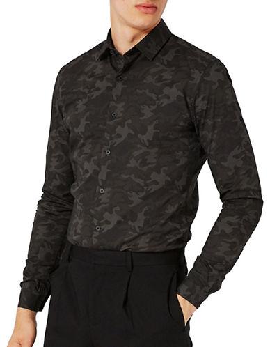Topman Camo-Printed Sport Shirt-MULTI-COLOURED-X-Small