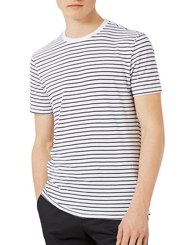 Topman Stripe T-Shirt-WHITE-Medium