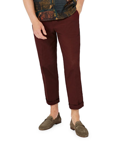 Topman Burgundy Twill Slim Fit Smart Pants-BURGUNDY-28
