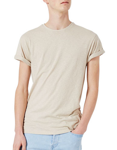 Topman Slub Textured Muscle Fit Roller T-Shirt-OFF WHITE-Large