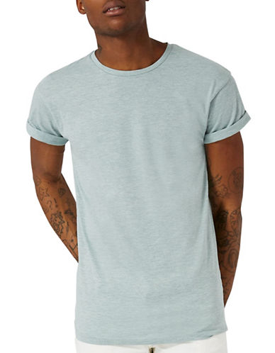Topman Textured Muscle Fit T-Shirt-GREEN-Medium