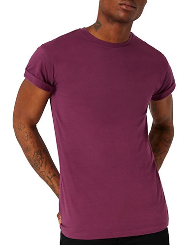 Topman Muscle Fit T-Shirt-PURPLE-Large