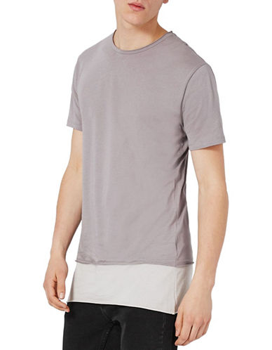 Topman Double Layer Longline T-Shirt-GREY-Small