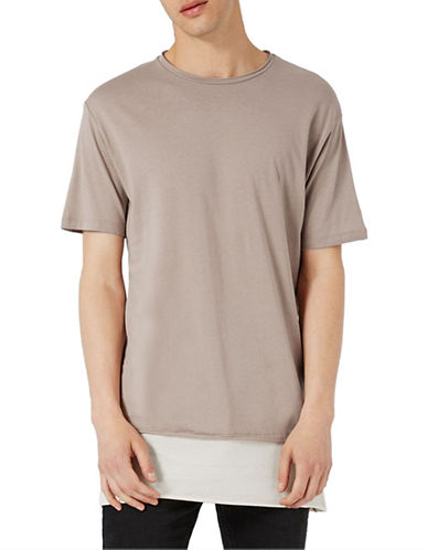 Topman Double Layer Longline T-Shirt-LIGHT BROWN-X-Large