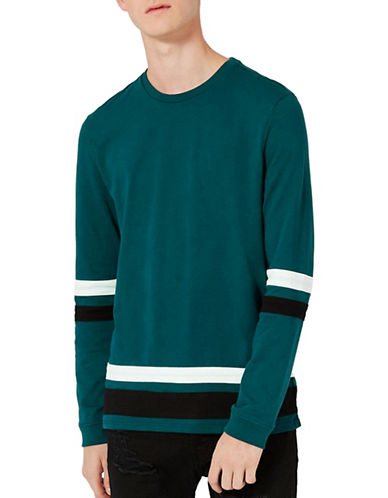 Topman Contrast Stripe Long Sleeve Top-GREEN-X-Small