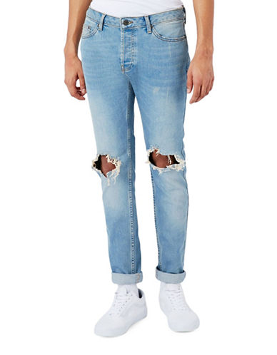 Topman Extreme Ripped Stretch Skinny Jeans-BLUE-36 Long