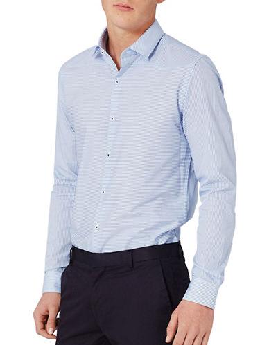 Topman Striped Sport Shirt-BLUE-Large