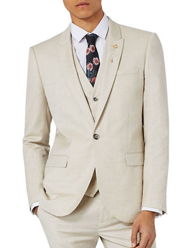 Topman Wyatt Crosshatch Skinny Fit Suit Jacket-STONE-36