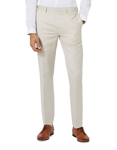 Topman Wyatt Crosshatch Skinny Fit Suit Trousers-STONE-30