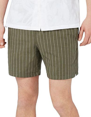 Topman Pinstripe Shorts-KHAKI/OLIVE-Small