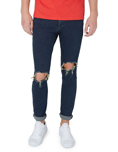 Topman Rinse Wash Skinny Ripped Jeans-BLUE-28