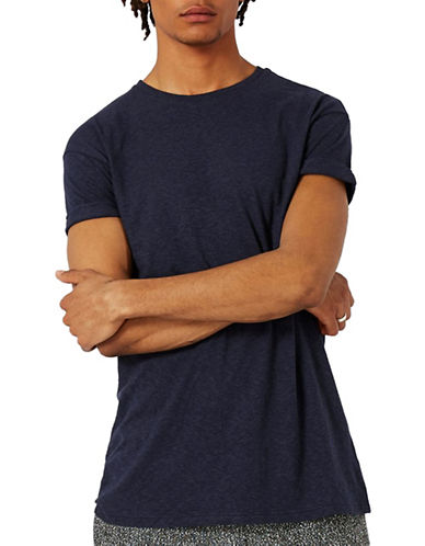 Topman Textured Muscle Fit Roller T-Shirt-DARK BLUE-X-Small