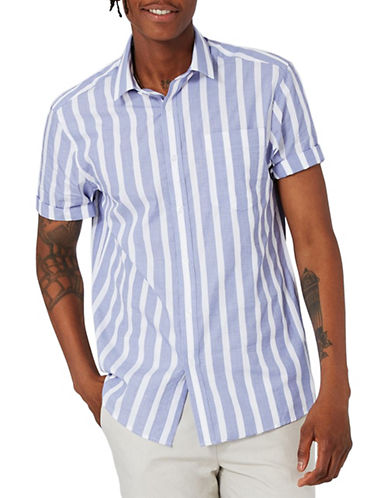 Topman Stripe Sport Shirt-BLUE-X-Small