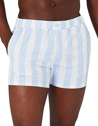 Topman Stripe Swim Shorts-BLUE-X-Small