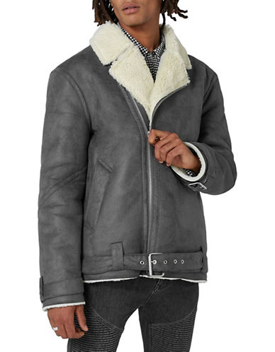 Topman Faux Shearling Biker Jacket-GREY-Large