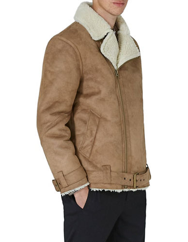 Topman Tan Faux Shearling Borg Jacket-BROWN-Large