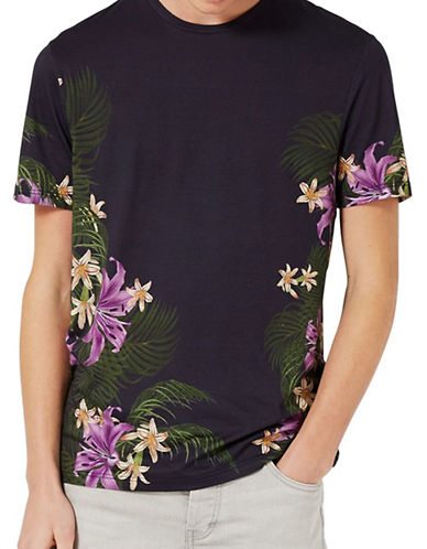 Topman Tropical Floral Slim Fit T-Shirt-BLACK-Large