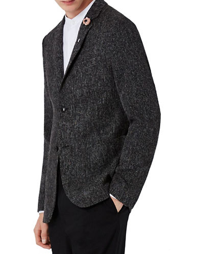 Topman Happy Neppy Linen-Blend Skinny Blazer-BLACK-34