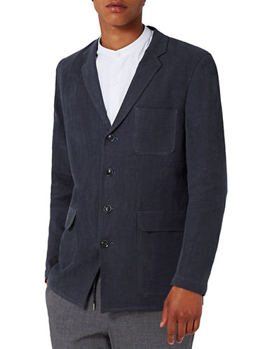 Topman Morgan Deconstructed Linen-Cotton Blazer-BLUE-34