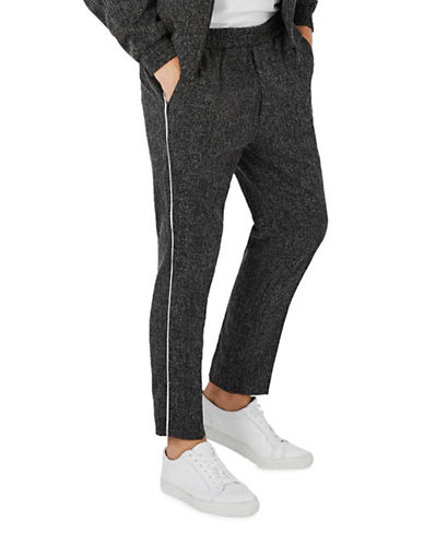 Topman Linen-Blend Dress Joggers-CHARCOAL-34
