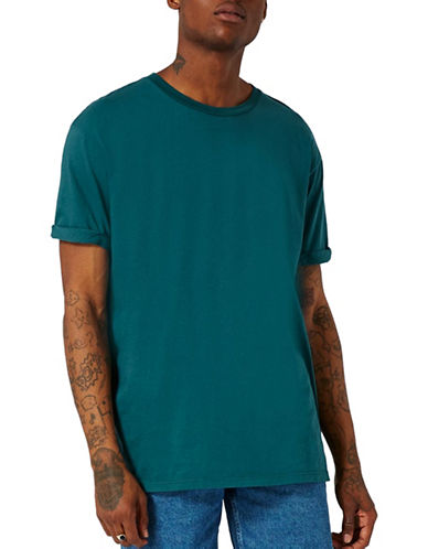 Topman Oversized Roller Sleeve T-Shirt-GREEN-Small