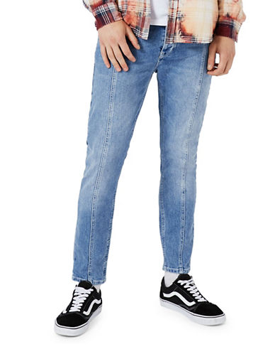 Topman Panelled Stretch Skinny Jeans-BLUE-34 Short