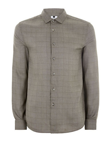 Topman Classic Fit Charles Check Shirt-BROWN-Small