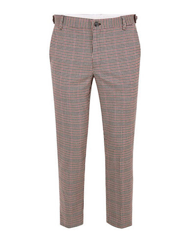 Topman Check Skinny Cropped Smart Trousers-MULTI-34