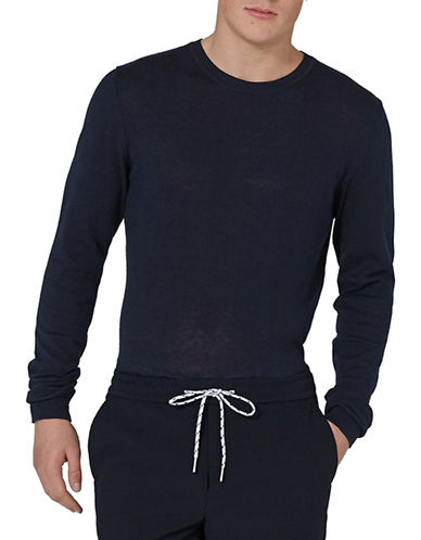 Topman Slim Fit Essential Sweater-NAVY BLUE-Small