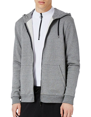 Topman Basic Zip-Up Hoodie-BLACK-Large