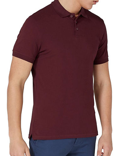 Topman Muscle Fit Pique Polo-RED-Large