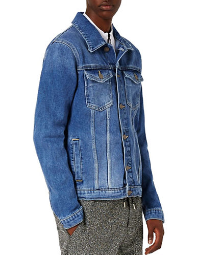Topman Washed Denim Jacket-BLUE-Small