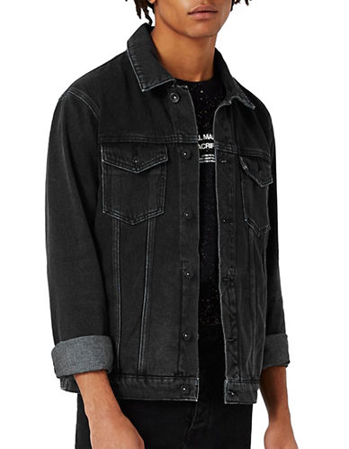Topman Denim Jacket-BLACK-Large