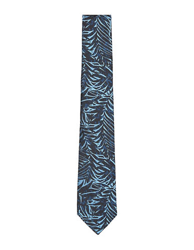 Topman Leaf Print Woven Tie-NAVY BLUE-One Size