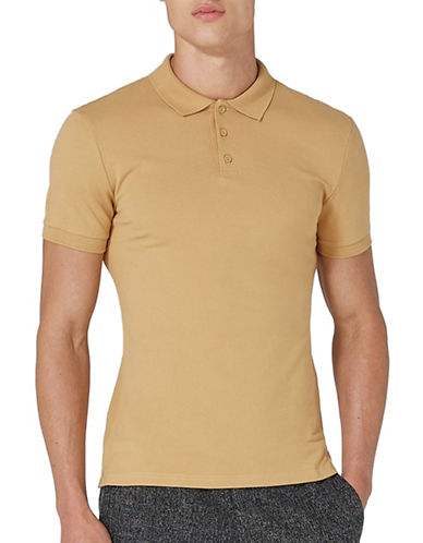 Topman Muscle Fit Polo-LIGHT BROWN-Large