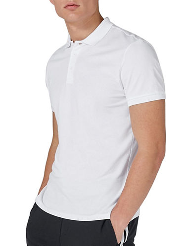 Topman Muscle Fit Pique Polo-WHITE-Medium