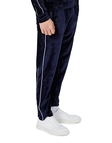 Topman Pipe Velour Track Pants-BLUE-X-Large