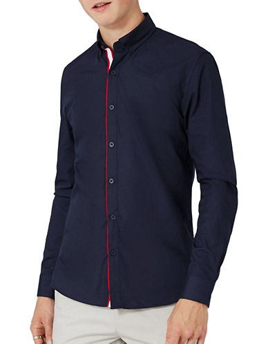 Topman Taped Formal Shirt-NAVY BLUE-Medium