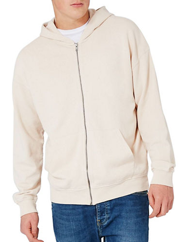 Topman Zip-Through Hoodie-GREY-Small