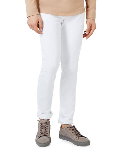 Topman Stretch Skinny Jeans-WHITE-30 Short