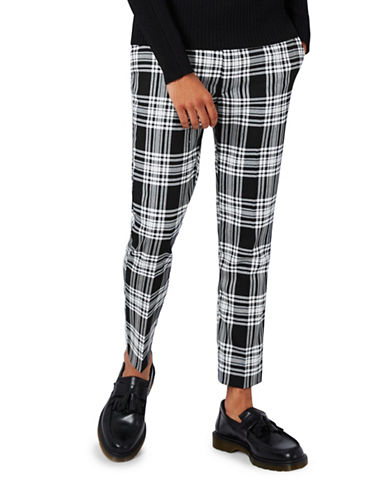 Topman Check Ultra Skinny Fit Cropped Trousers-BLACK-34