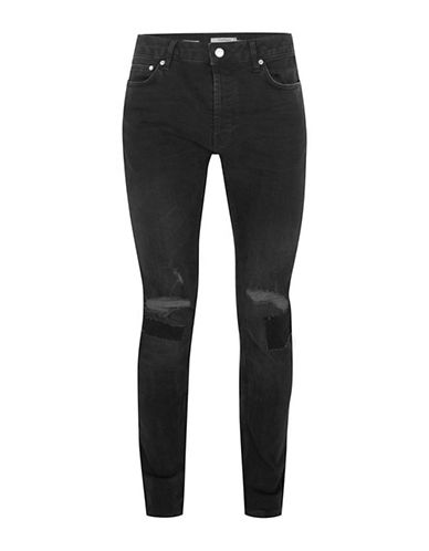 Topman Ripped Stretch Skinny Jeans-BLACK-34 Long