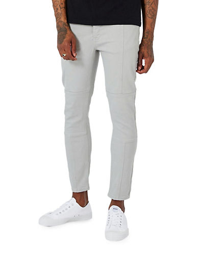 Topman Panelled Stretch Skinny Jeans-ECRU-28