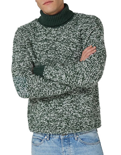 Topman LTD Classic Fit Turtleneck Sweater-GREEN-Small